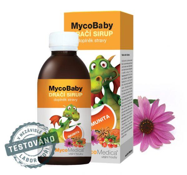 MycoBaby Dračí sirup pro děti je kombinací bylin a hub pro podporu imunity u dětí