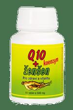 Q10 koenzym s ženšenem bylinky pro vitalitu a zdraví